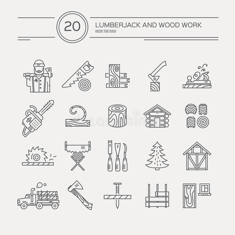Timber Industry Icons. Timber industry icon collection - vector set. Modern line style collection of woodwork tools, carpentry gear. Unique and modern set stock illustration