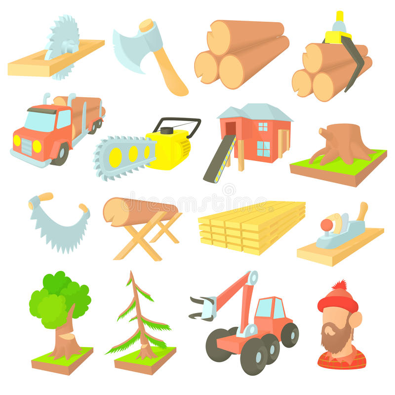 Timber industry icons set, cartoon ctyle. Timber industry icons set in cartoon ctyle. Lumberjack equipment set collection vector illustration stock illustration