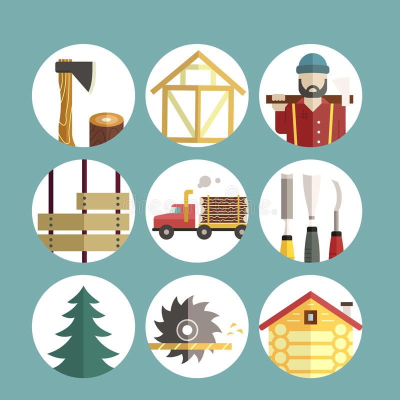 Timber Industry Icons. Woodwork and timber industry icon collection - vector set of lumberjack symbols. Unique and modern set isolated on background stock illustration