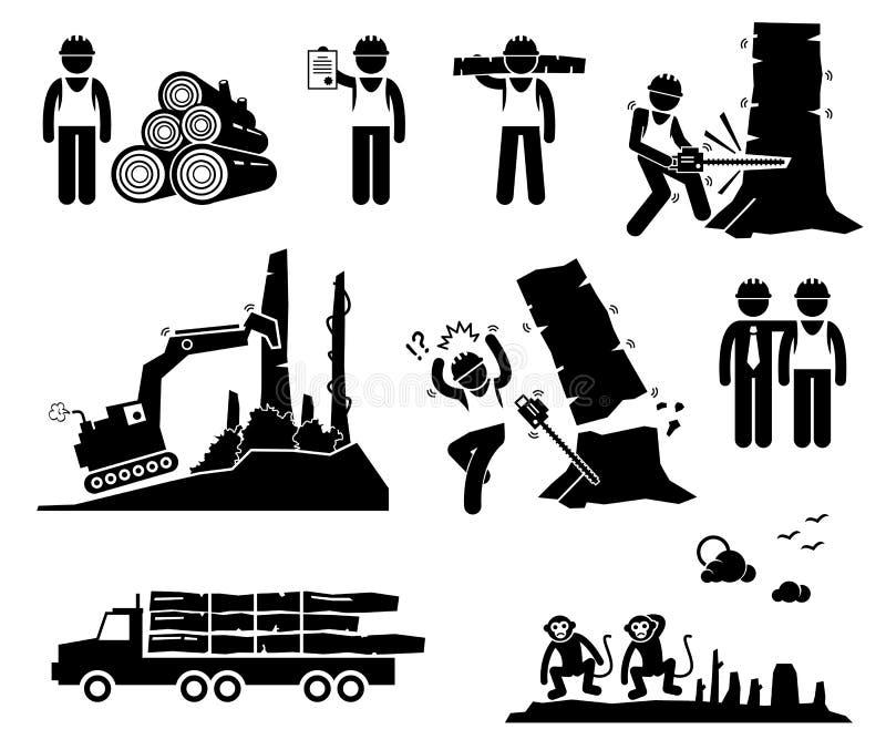 Timber Logging Worker Deforestation Cliparts Icons. A set of human pictogram representing timber logging and deforestation by human worker. The process destroy royalty free illustration