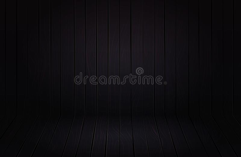 Ground black wooden  product showcase. Old board texture for Halloween poster. royalty free stock image