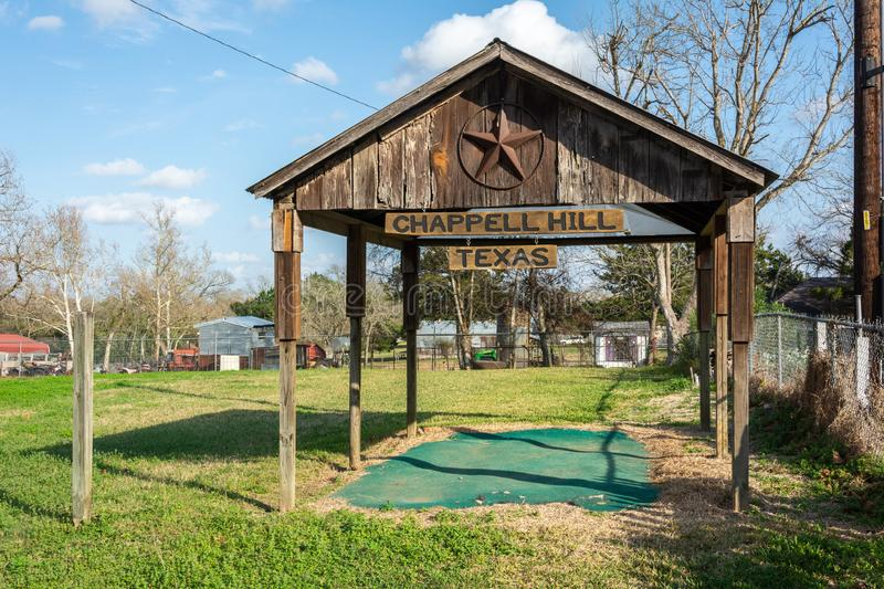 Timber shed with Chappell Hill sign and Texas star stock photos