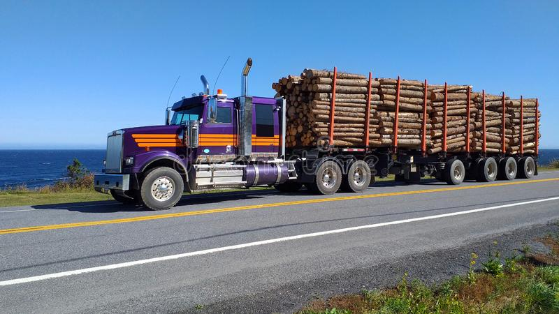 Timber truck transporting wooden logs on the Gaspesie road. Quebec Canada. Road with a timber truck transporting wooden logs. Gaspesie road. Quebec Canada stock photos