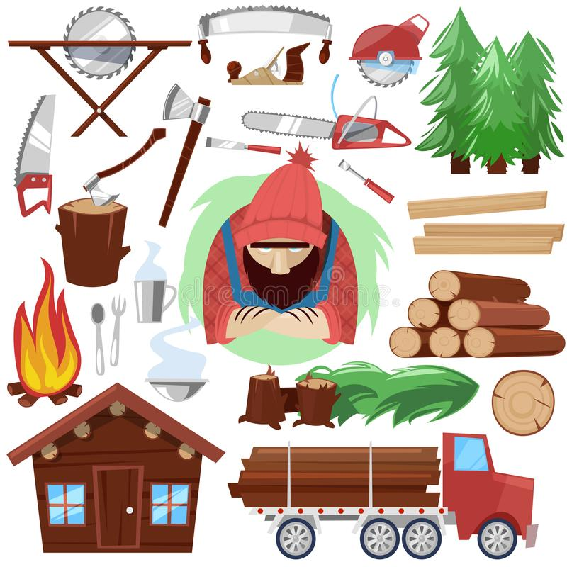 Timber vector lumberman character and logger saws lumber or hardwood set of wooden timbered materials in sawmill and. Lumberjack isolated on white background royalty free illustration