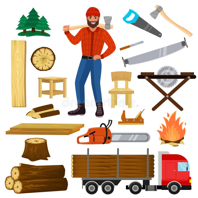 Timber vector lumberman character and logger saws lumber or hardwood set of wooden timbered materials in sawmill and. Lumberjack man isolated on white royalty free illustration