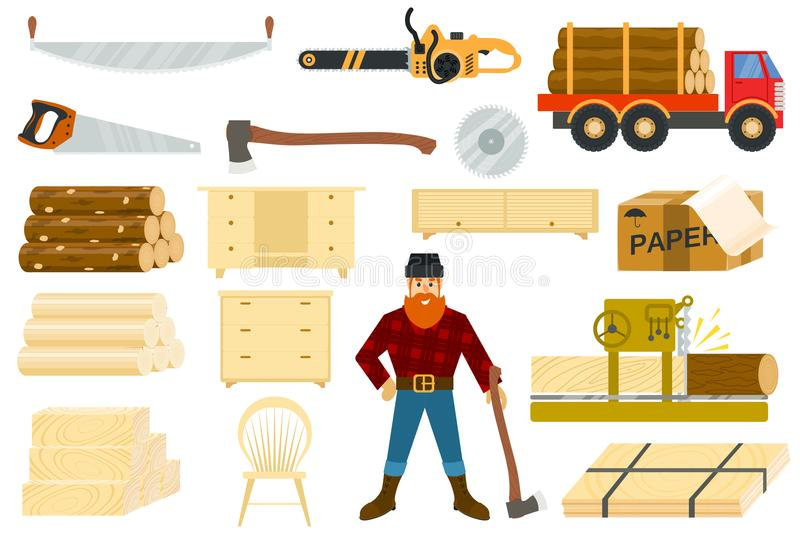 Timber vector woodcutter character or logger saws lumber or hardwood set of wooden timbered materials in sawmill. Isolated on white background royalty free illustration