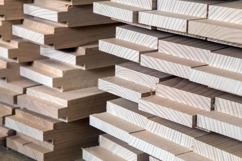 Timber, wood building material for background and texture. details wood production spike. composition wood products royalty free stock image