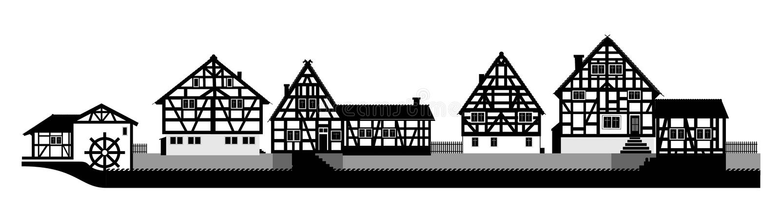 Timbered house royalty free illustration
