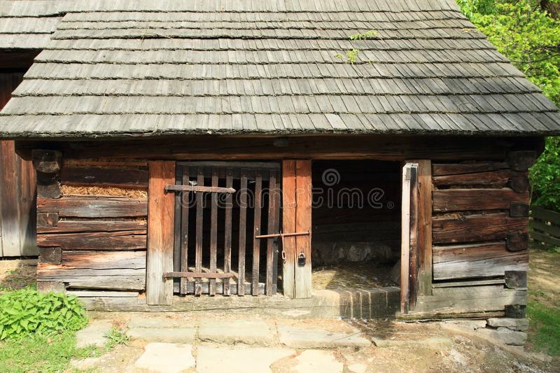 Timbered sheds with shingles roof royalty free stock image