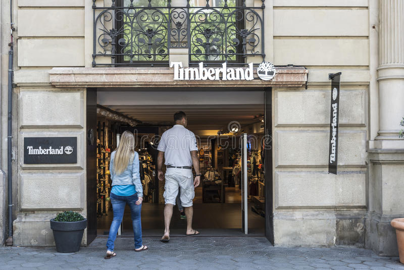 Timberlanden shoppar, Barcelona royaltyfria bilder