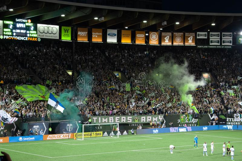 Timbers Army celebrating a goal stock images