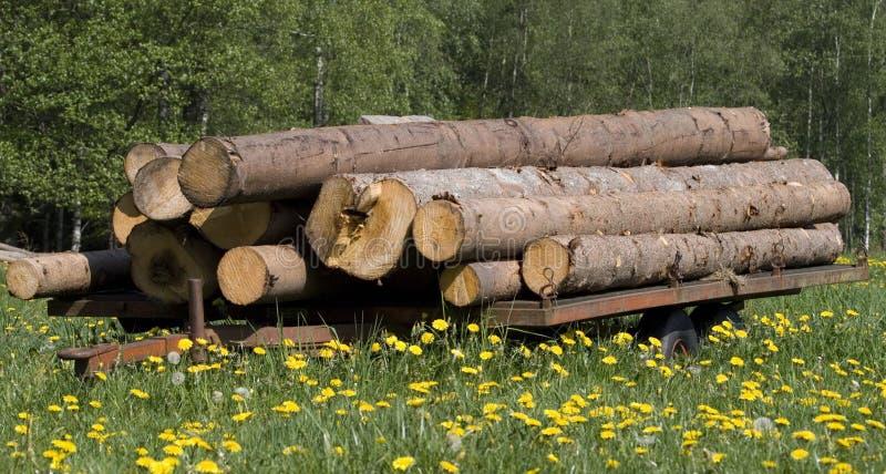 Timberwagon met hout royalty-vrije stock fotografie