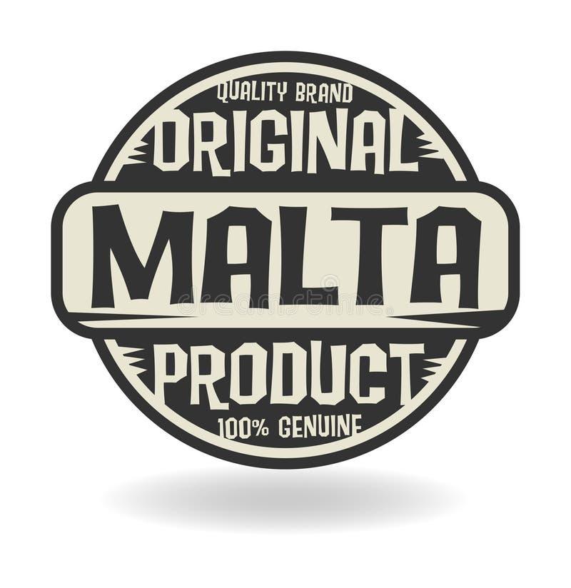 Timbre abstrait avec le produit initial des textes de Malte illustration libre de droits