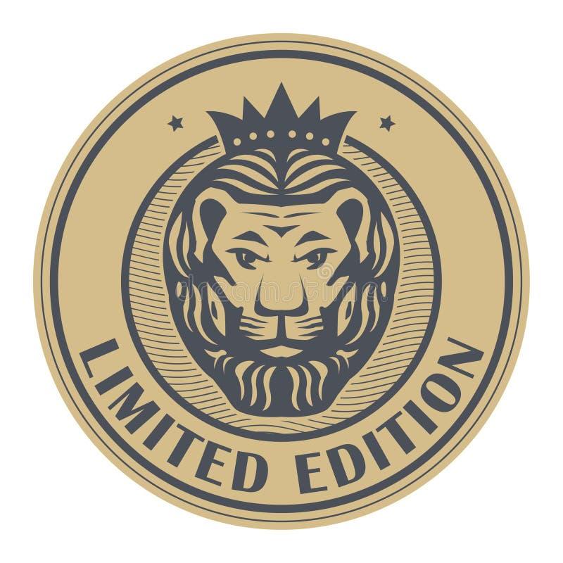 Timbre abstrait avec Lion Head illustration de vecteur