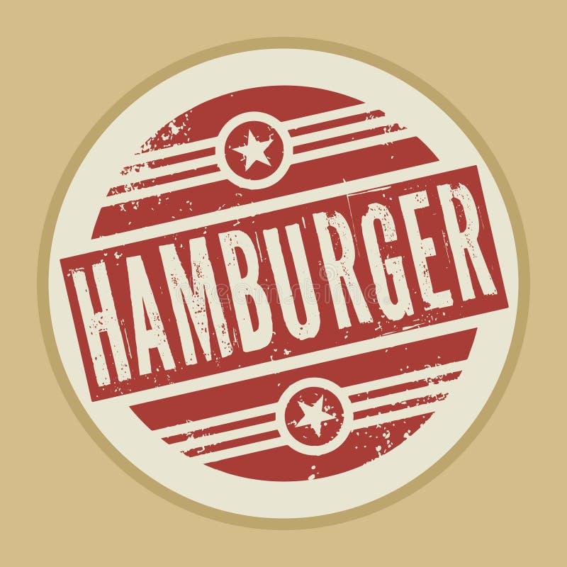 Timbre abstrait grunge ou label de cru avec l'hamburger des textes illustration libre de droits
