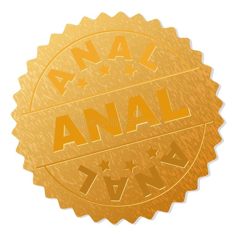 Timbre ANAL de médaillon d'or illustration stock