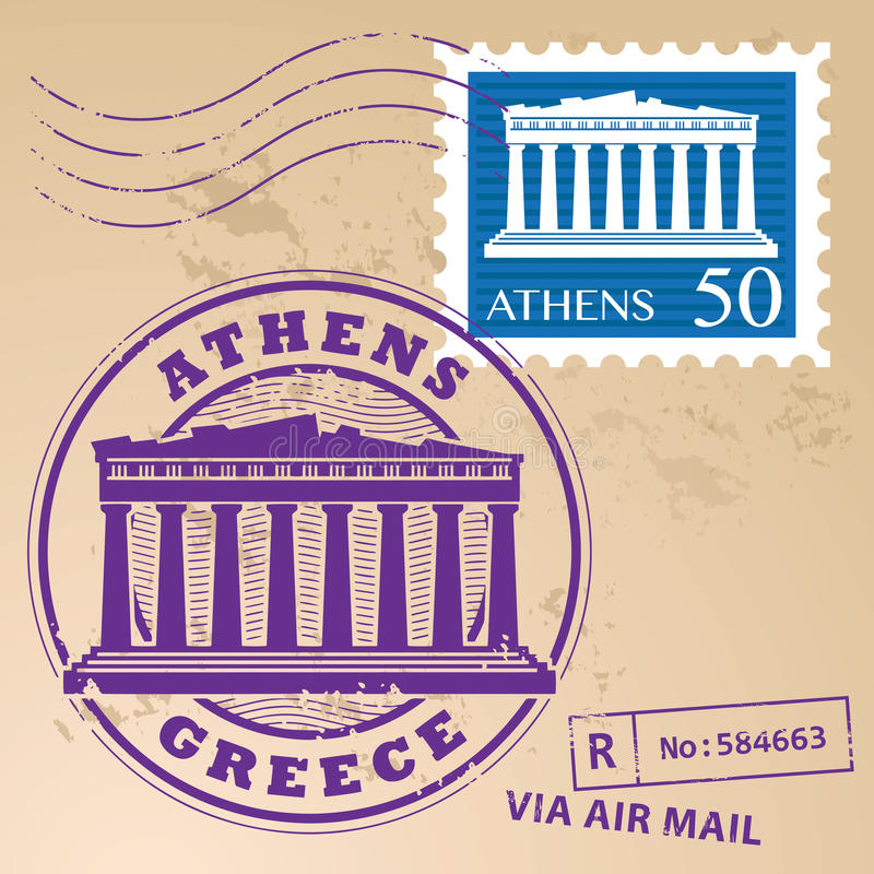 Timbre Athènes réglé illustration libre de droits