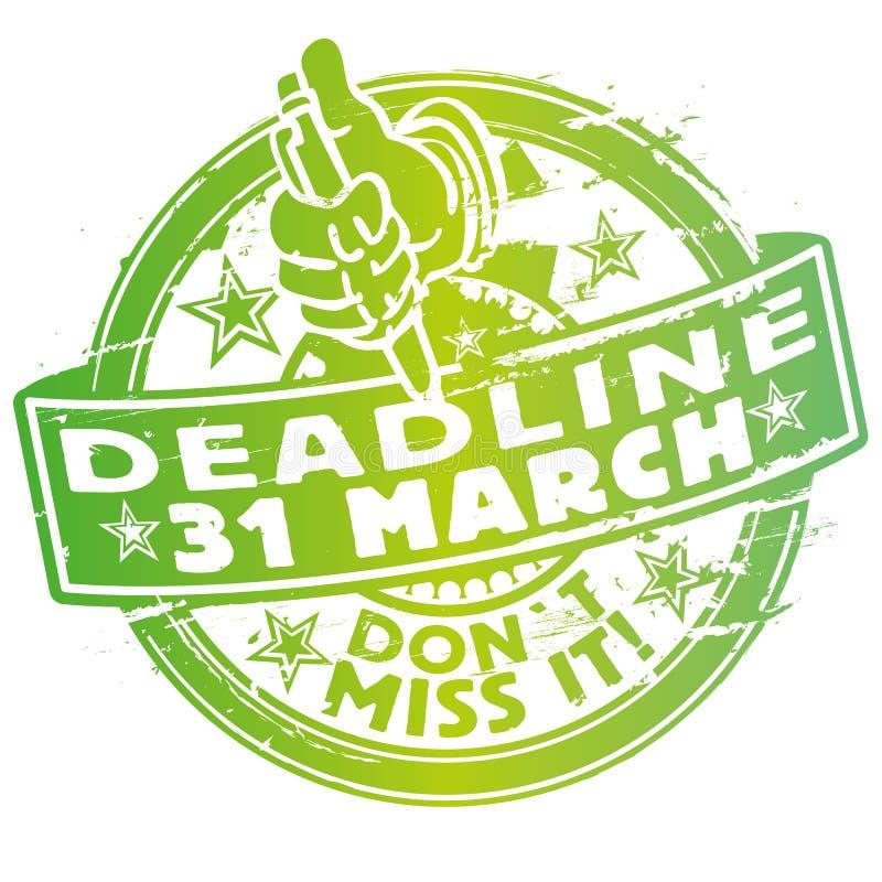 Timbre avec date-butoir le 31 mars illustration libre de droits