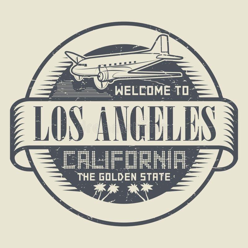 Timbre avec l'accueil d'avion et de textes vers la Californie, Los Angeles illustration libre de droits