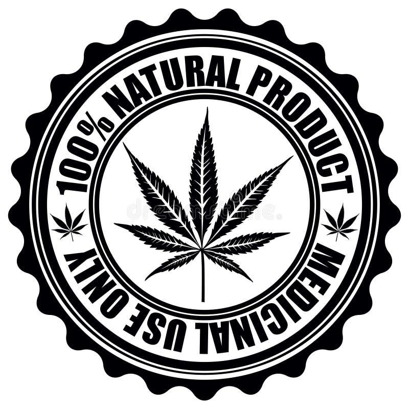 Timbre avec l'emblème de feuille de marijuana Symbo de silhouette de feuille de cannabis illustration de vecteur