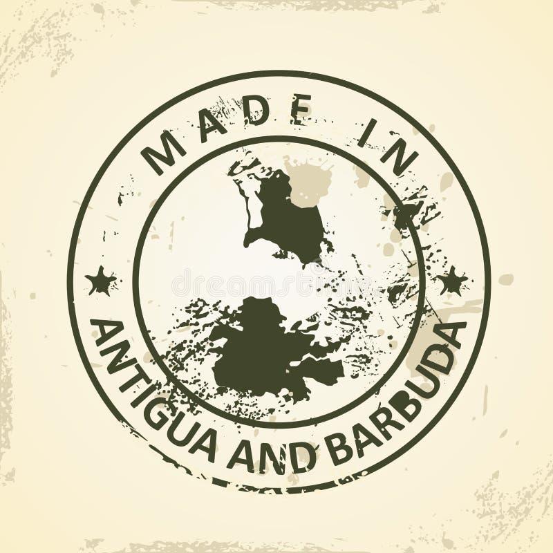 Timbre avec la carte de l'Antigua-et-Barbuda illustration stock