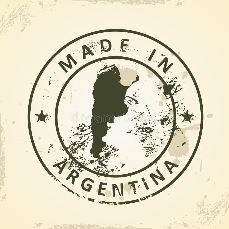 Timbre avec la carte de l'Argentine illustration stock