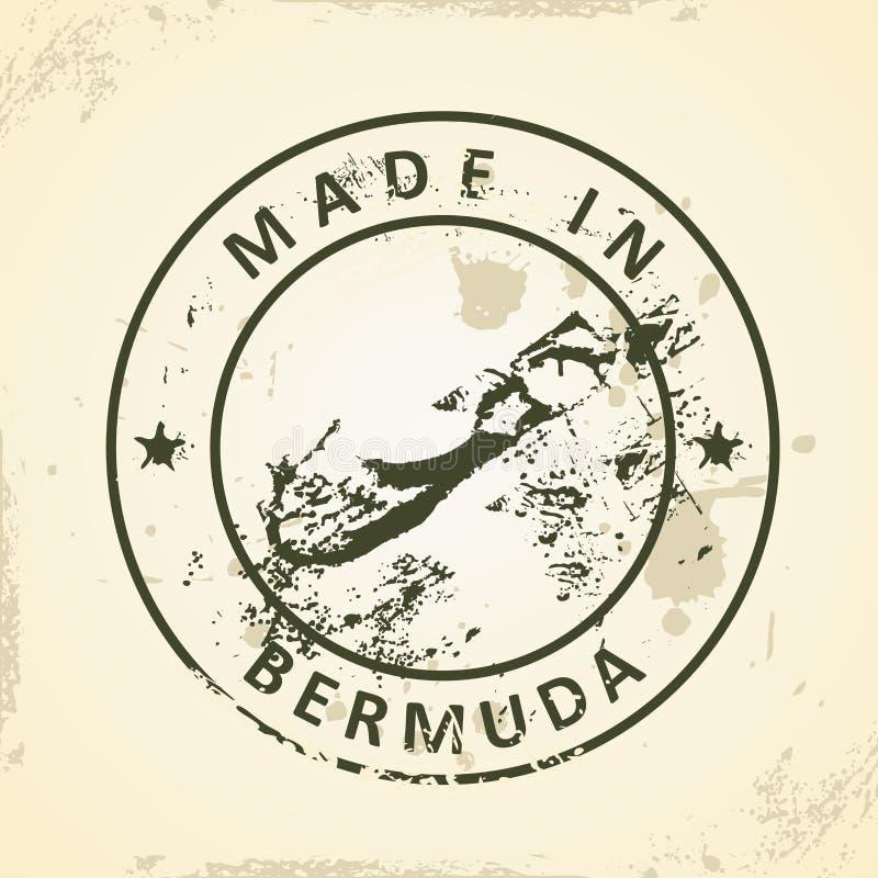 Timbre avec la carte des Bermudes illustration stock