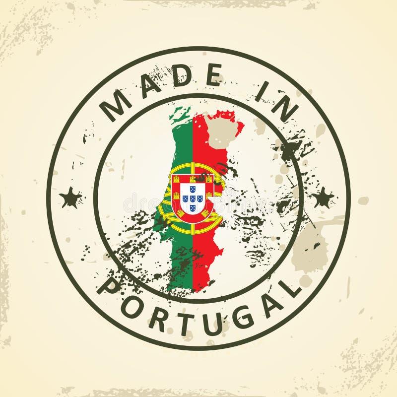 Timbre avec le drapeau de carte du Portugal illustration de vecteur