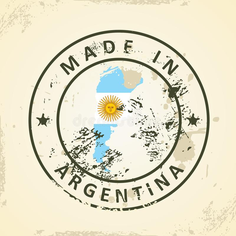 Timbre avec le drapeau de carte de l'Argentine illustration libre de droits