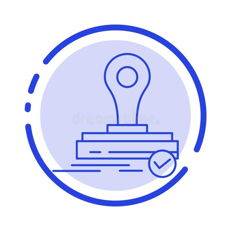 Timbre, clone, presse, icône de Logo Blue Dotted Line Line illustration de vecteur