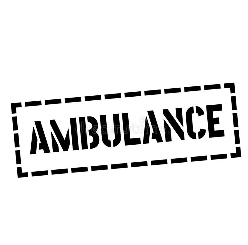 Timbre d'AMBULANCE sur le blanc illustration libre de droits