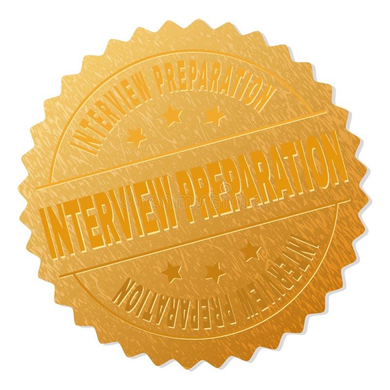 Timbre d'or de récompense de PRÉPARATION d'ENTREVUE illustration stock