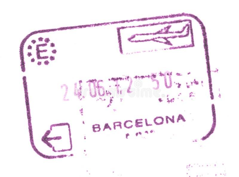 Timbre d'entrée des douanes de passeport dans l'aéroport de Barcelone, Espagne photo stock
