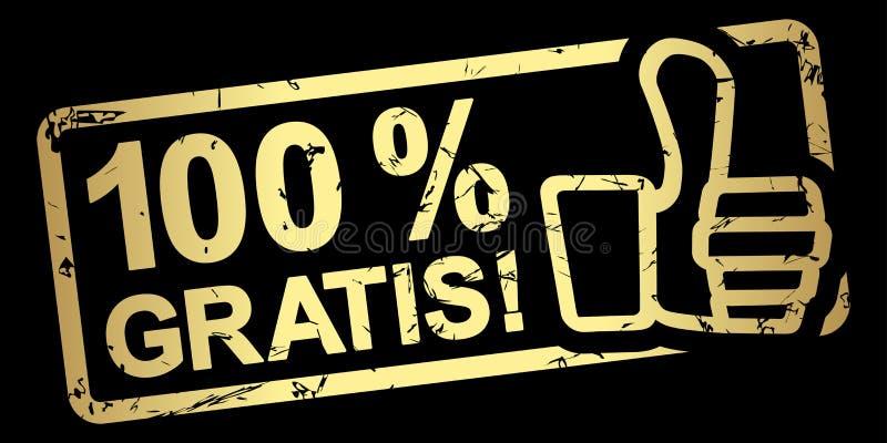 timbre 100 % d'or gratuitement illustration stock