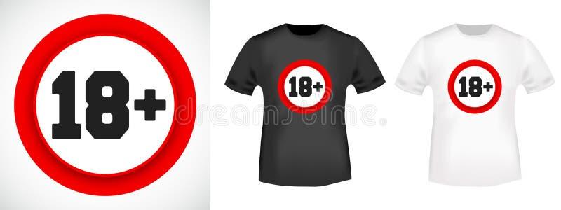 timbre d'impression de T-shirt de restriction de 18 âges Illustration de vecteur illustration de vecteur