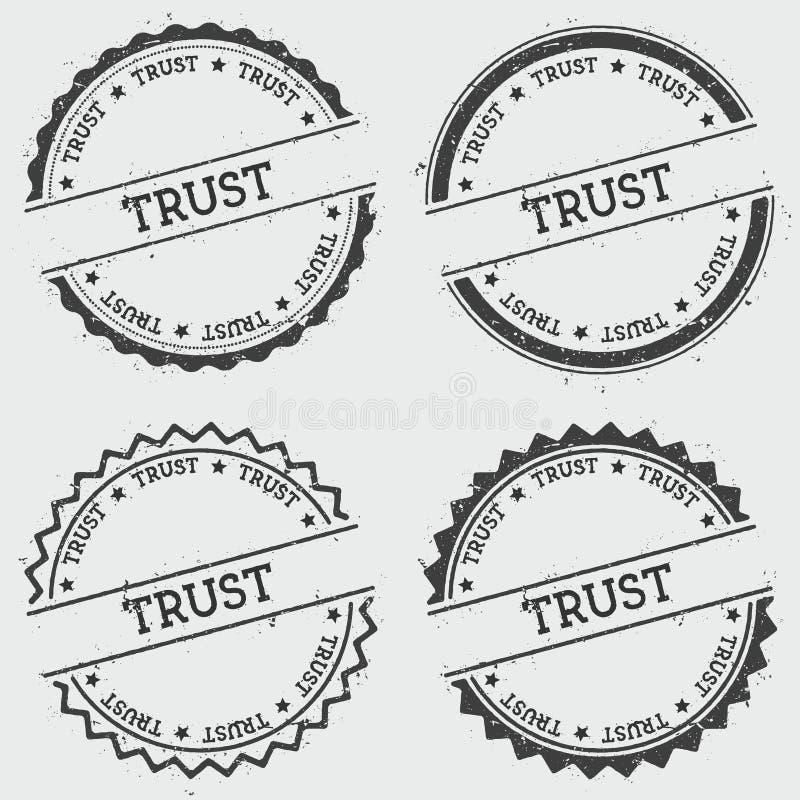 Timbre d'insignes de confiance d'isolement sur le fond blanc illustration stock