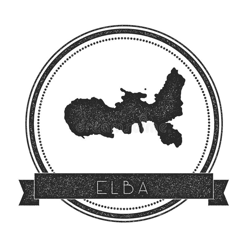 Timbre de carte de l'Île d'Elbe illustration de vecteur