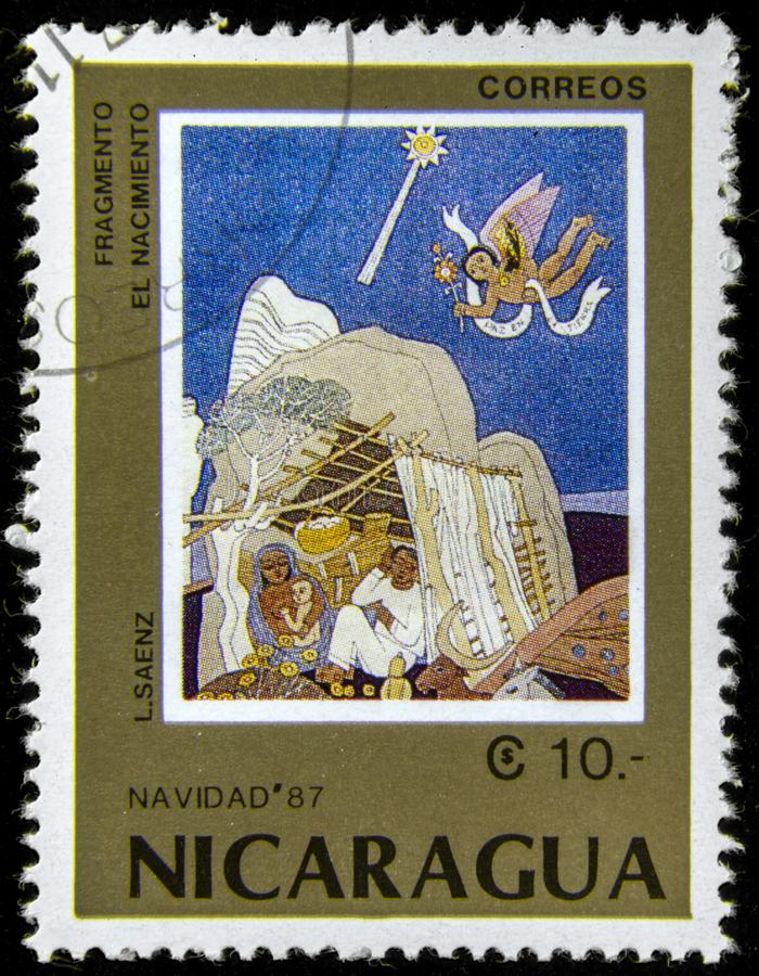 Timbre de courrier avec Vierge Marie et le bébé Jésus image libre de droits