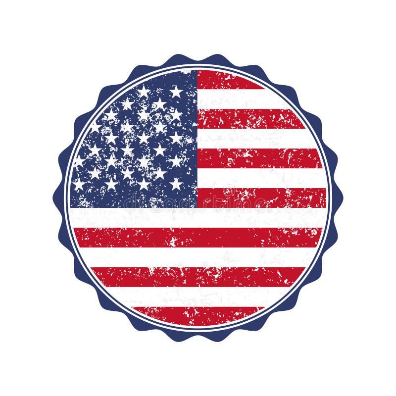 Timbre de drapeau des Etats-Unis avec le grunge Illustration de vecteur illustration stock