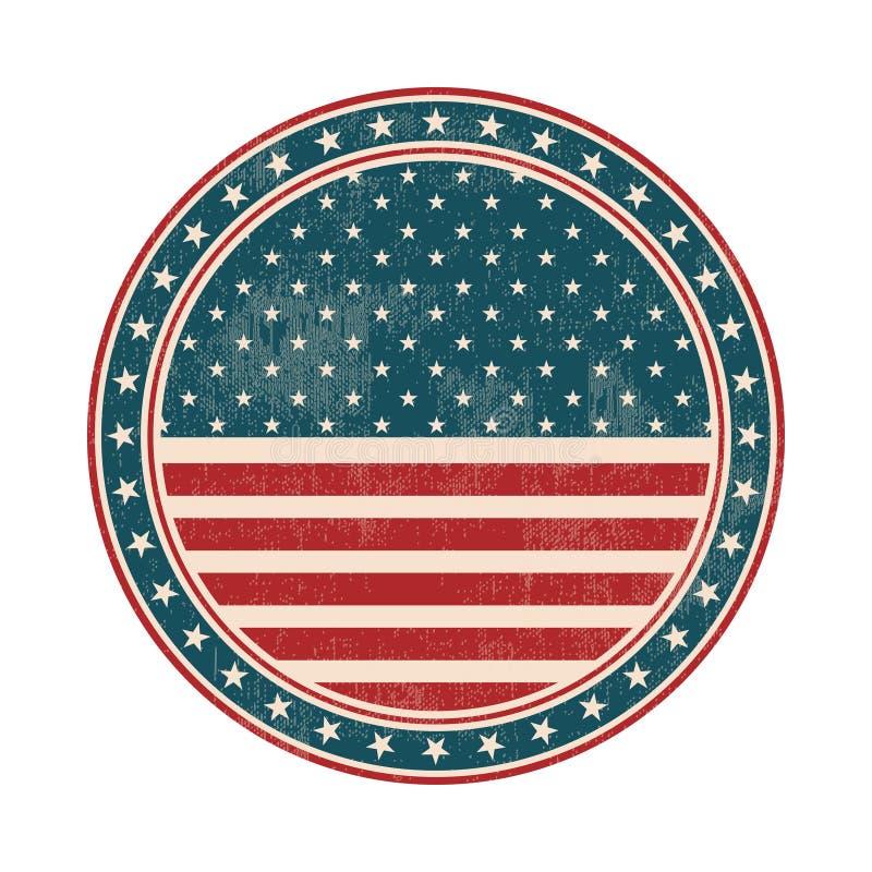Timbre de drapeau des Etats-Unis avec le grunge Illustration de vecteur illustration de vecteur