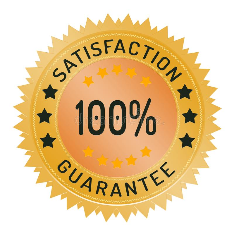 timbre 100% de garantie de satisfaction d'isolement sur le blanc illustration stock