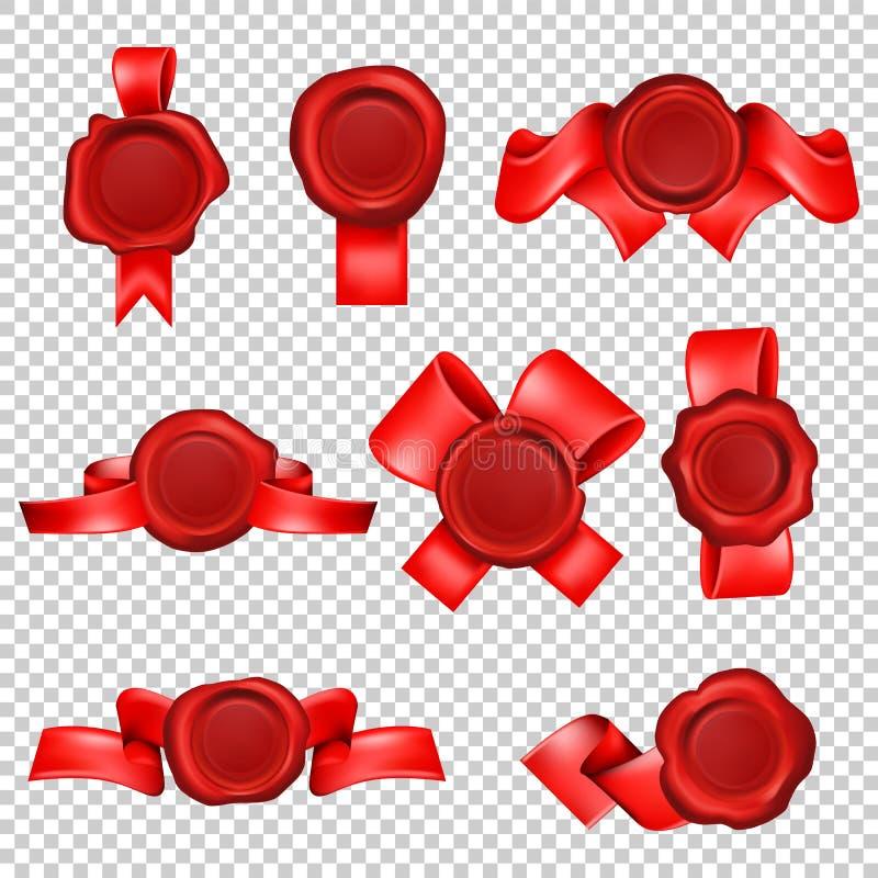 Timbre de joint de cire avec des rubans illustration de vecteur