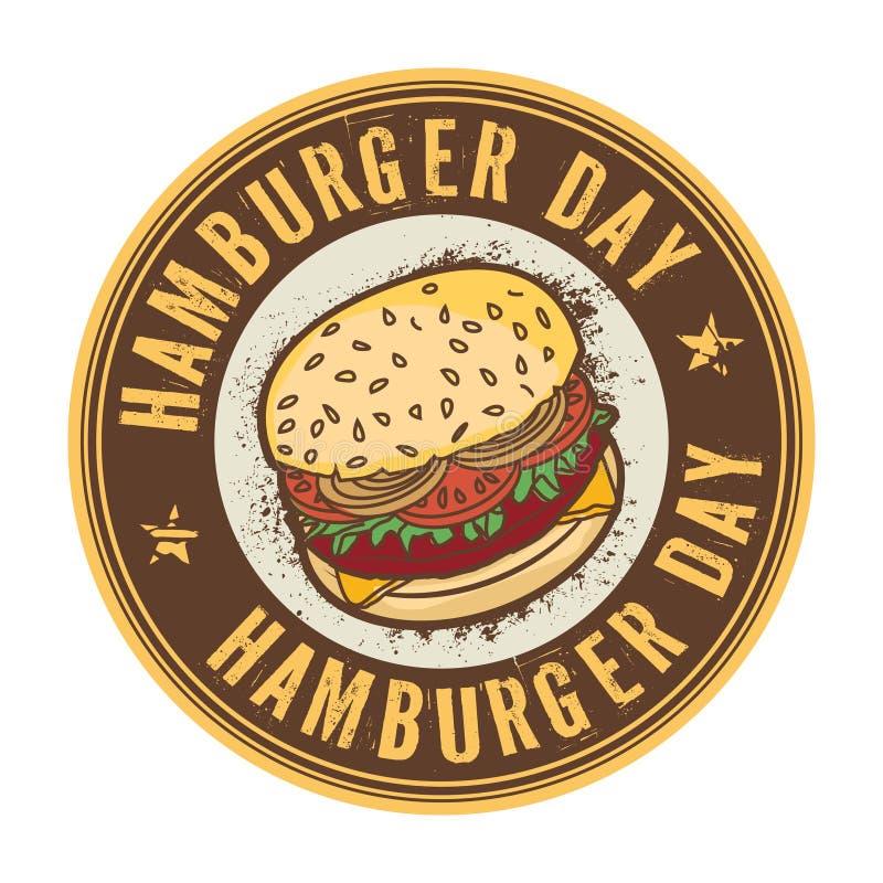 Timbre de jour d'hamburger illustration de vecteur