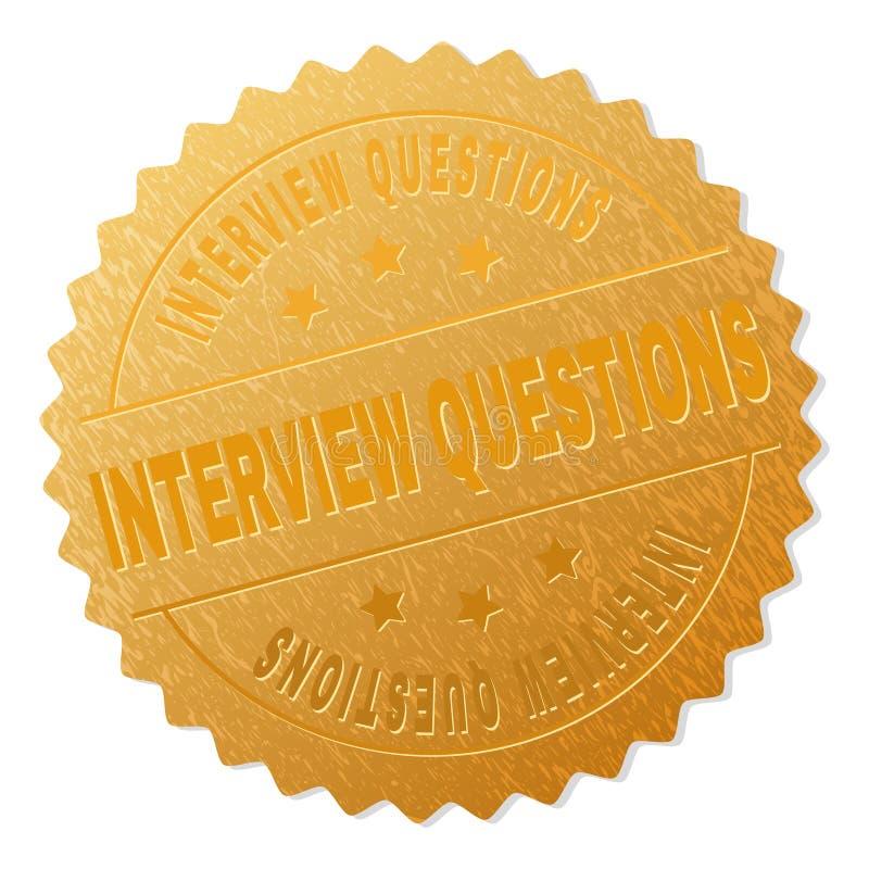 Timbre de médaillon de QUESTIONS d'ENTREVUE d'or illustration de vecteur