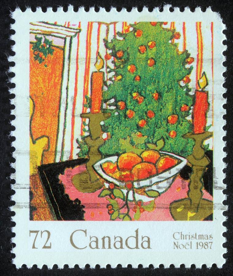 Timbre de Noël imprimé dans le Canada image stock
