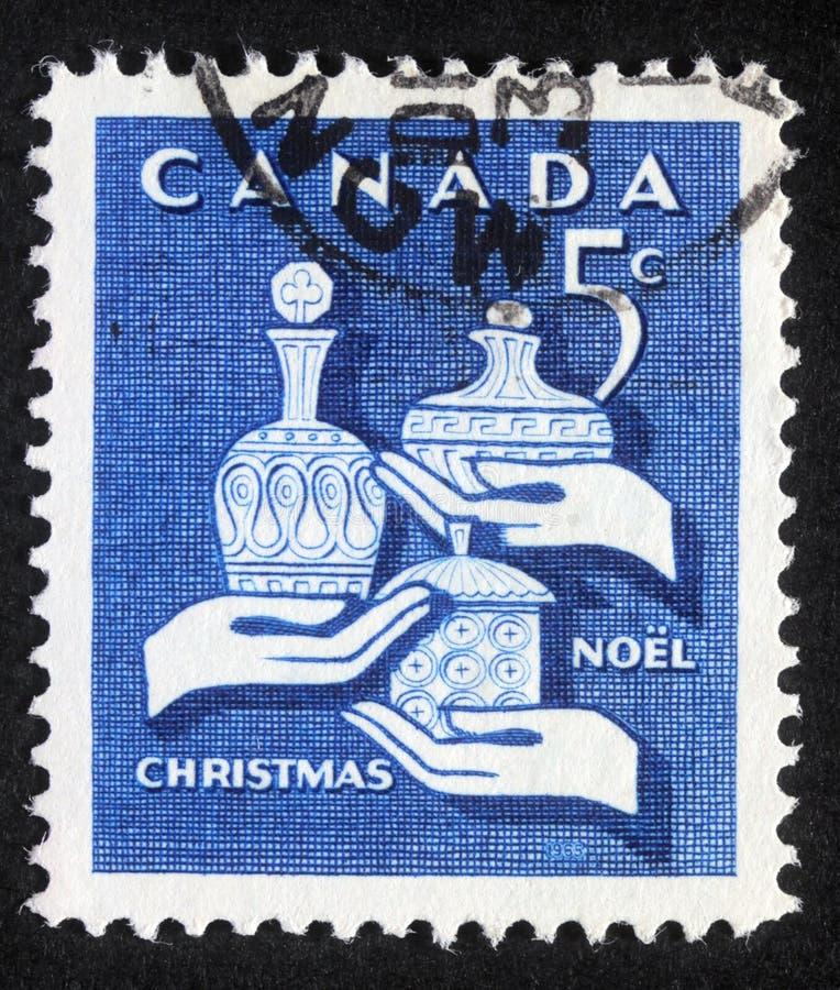 Timbre de Noël imprimé dans le Canada image libre de droits