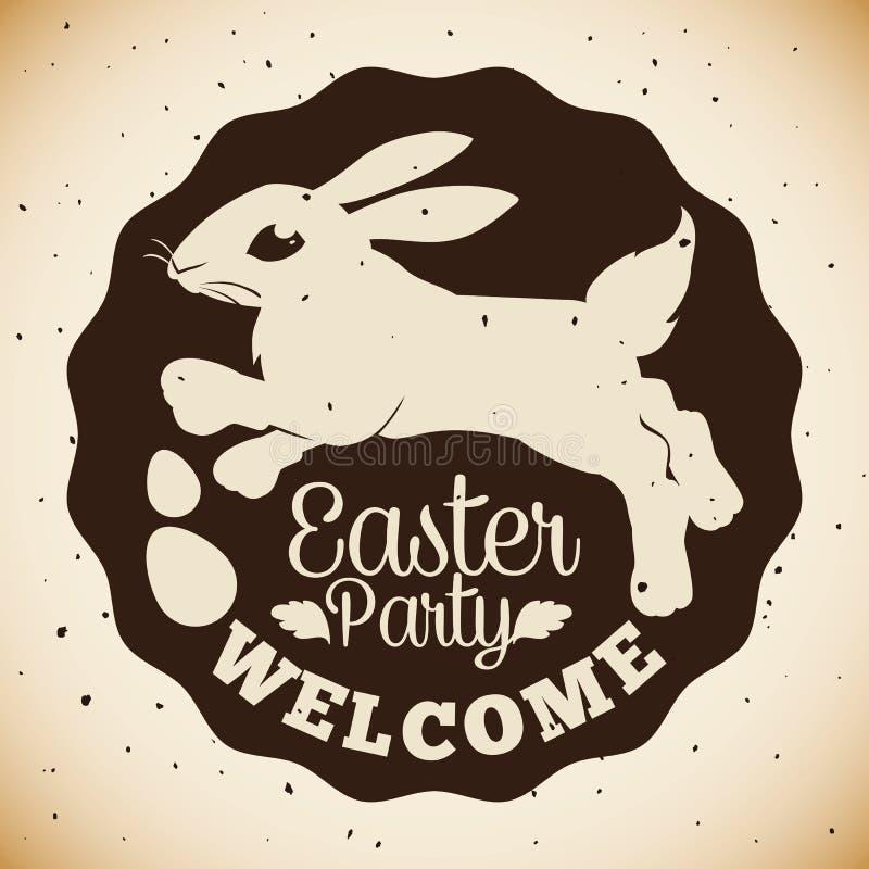 Timbre de partie de Pâques avec le lapin et le Paschal Eggs Silhouette, illustration de vecteur illustration libre de droits