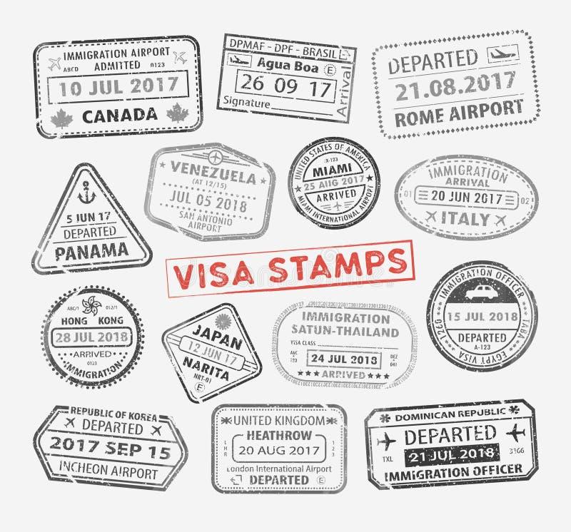 Timbre de passeport de visa illustration de vecteur