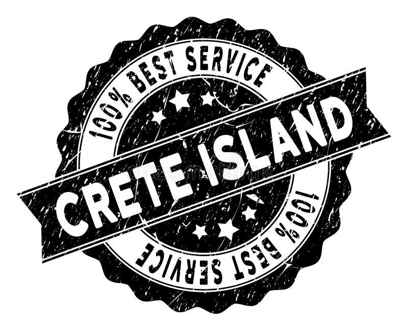 Timbre de service d'île de Crète le meilleur avec la surface grunge illustration stock