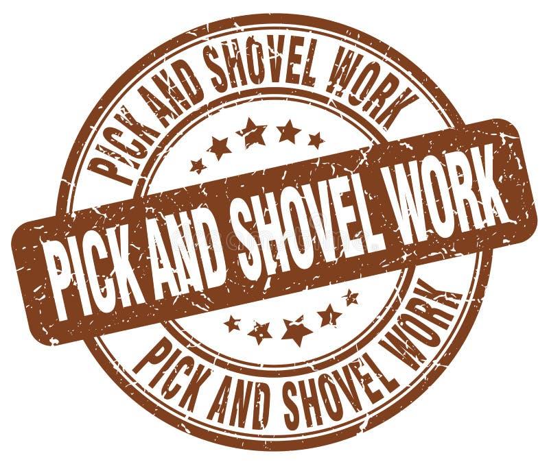 timbre de travail de sélection et de pelle illustration stock